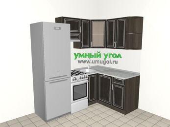 Угловая кухня МДФ патина 5,0 м², 2000 на 1400 мм, Венге: верхние модули 720 мм, холодильник, отдельно стоящая плита, посудомоечная машина