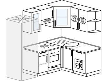 Угловая кухня 5,0 м² (2,0✕1,4 м), верхние модули 720 мм, посудомоечная машина, встроенный духовой шкаф, холодильник