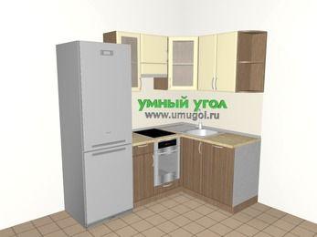 Угловая кухня МДФ матовый 5,0 м², 2000 на 1400 мм, Ваниль / Лиственница бронзовая, верхние модули 720 мм, посудомоечная машина, встроенный духовой шкаф, холодильник