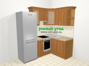 Угловая кухня МДФ матовый в классическом стиле 5,0 м², 200 на 140 см, Вишня, верхние модули 72 см, посудомоечная машина, встроенный духовой шкаф, холодильник