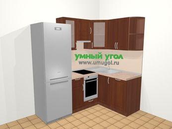 Угловая кухня МДФ матовый в классическом стиле 5,0 м², 200 на 140 см, Вишня темная, верхние модули 72 см, посудомоечная машина, встроенный духовой шкаф, холодильник