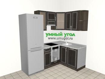 Угловая кухня МДФ патина 5,0 м², 2000 на 1400 мм, Венге, верхние модули 720 мм, посудомоечная машина, встроенный духовой шкаф, холодильник