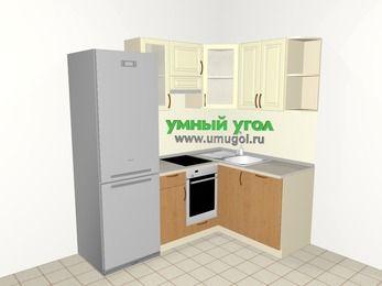 Угловая кухня из МДФ + ЛДСП 5,0 м², 2000 на 1400 мм, Ваниль / Ольха, верхние модули 720 мм, посудомоечная машина, встроенный духовой шкаф, холодильник