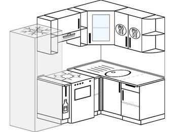 Угловая кухня 5,0 м² (2,0✕1,4 м), верхние модули 720 мм, холодильник, отдельно стоящая плита