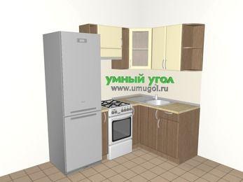 Угловая кухня МДФ матовый 5,0 м², 2000 на 1400 мм, Ваниль / Лиственница бронзовая, верхние модули 720 мм, холодильник, отдельно стоящая плита