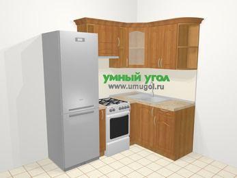 Угловая кухня МДФ матовый в классическом стиле 5,0 м², 200 на 140 см, Вишня, верхние модули 72 см, холодильник, отдельно стоящая плита
