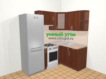 Угловая кухня МДФ матовый в классическом стиле 5,0 м², 200 на 140 см, Вишня темная, верхние модули 72 см, холодильник, отдельно стоящая плита