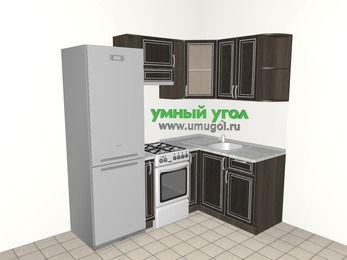 Угловая кухня МДФ патина 5,0 м², 2000 на 1400 мм, Венге, верхние модули 720 мм, холодильник, отдельно стоящая плита