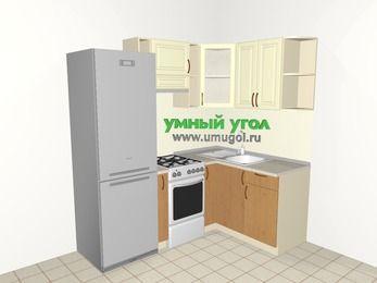 Угловая кухня из МДФ + ЛДСП 5,0 м², 2000 на 1400 мм, Ваниль / Ольха, верхние модули 720 мм, холодильник, отдельно стоящая плита