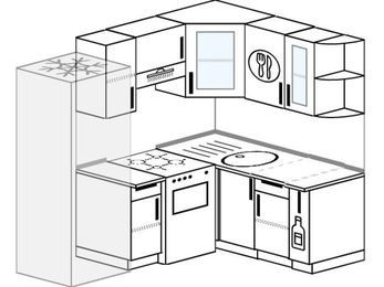 Угловая кухня 5,0 м² (2,0✕1,5 м), верхние модули 72 см, холодильник, отдельно стоящая плита