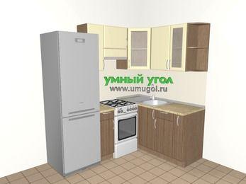 Угловая кухня МДФ матовый 5,0 м², 2000 на 1500 мм, Ваниль / Лиственница бронзовая, верхние модули 720 мм, холодильник, отдельно стоящая плита