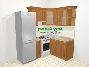 Угловая кухня МДФ матовый в классическом стиле 5,0 м², 200 на 150 см, Вишня, верхние модули 72 см, холодильник, отдельно стоящая плита