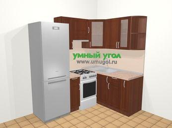 Угловая кухня МДФ матовый в классическом стиле 5,0 м², 200 на 150 см, Вишня темная, верхние модули 72 см, холодильник, отдельно стоящая плита