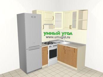 Угловая кухня из МДФ + ЛДСП 5,0 м², 2000 на 1500 мм, Ваниль / Ольха, верхние модули 720 мм, холодильник, отдельно стоящая плита