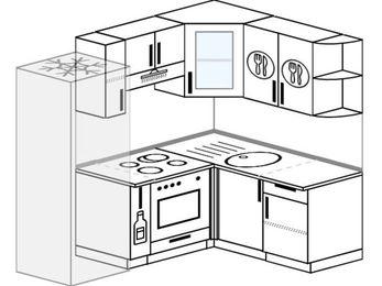 Угловая кухня 5,0 м² (2,0✕1,5 м), верхние модули 720 мм, встроенный духовой шкаф, холодильник