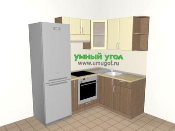 Угловая кухня МДФ матовый 5,0 м², 2000 на 1500 мм, Ваниль / Лиственница бронзовая, верхние модули 720 мм, встроенный духовой шкаф, холодильник