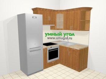 Угловая кухня МДФ матовый в классическом стиле 5,0 м², 200 на 150 см, Вишня, верхние модули 72 см, встроенный духовой шкаф, холодильник