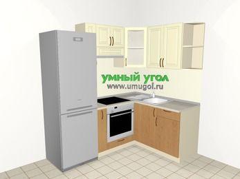 Угловая кухня из МДФ + ЛДСП 5,0 м², 2000 на 1500 мм, Ваниль / Ольха, верхние модули 720 мм, встроенный духовой шкаф, холодильник