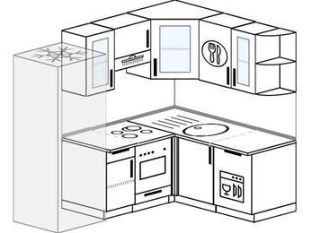 Планировка угловой кухни 5,0 м², 2000 на 1500 мм: верхние модули 720 мм, холодильник, встроенный духовой шкаф, посудомоечная машина
