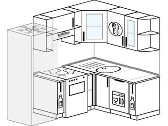 Угловая кухня 5,0 м² (2,0✕1,5 м), верхние модули 72 см, посудомоечная машина, холодильник, отдельно стоящая плита