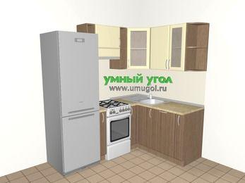 Угловая кухня МДФ матовый 5,0 м², 2000 на 1500 мм, Ваниль / Лиственница бронзовая, верхние модули 720 мм, посудомоечная машина, холодильник, отдельно стоящая плита