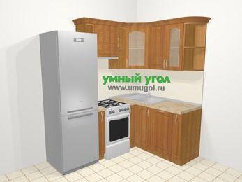 Угловая кухня МДФ матовый в классическом стиле 5,0 м², 200 на 150 см, Вишня, верхние модули 72 см, посудомоечная машина, холодильник, отдельно стоящая плита