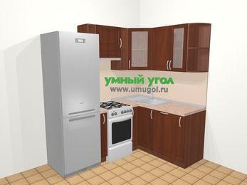 Угловая кухня МДФ матовый в классическом стиле 5,0 м², 200 на 150 см, Вишня темная, верхние модули 72 см, посудомоечная машина, холодильник, отдельно стоящая плита