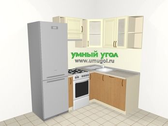 Угловая кухня из МДФ + ЛДСП 5,0 м², 2000 на 1500 мм, Ваниль / Ольха, верхние модули 720 мм, посудомоечная машина, холодильник, отдельно стоящая плита