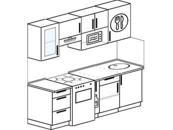 Планировка прямой кухни 5,0 м², 2000 мм: верхние модули 720 мм, отдельно стоящая плита, корзина-бутылочница, модуль под свч