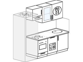 Планировка прямой кухни 5,0 м², 200 см: верхние модули 72 см, холодильник, встроенный духовой шкаф, посудомоечная машина
