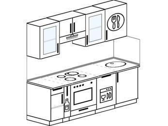 Планировка прямой кухни 5,0 м², 200 см: верхние модули 72 см, корзина-бутылочница, встроенный духовой шкаф, посудомоечная машина
