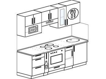 Планировка прямой кухни 5,0 м², 2000 мм: верхние модули 720 мм, корзина-бутылочница, встроенный духовой шкаф, модуль под свч
