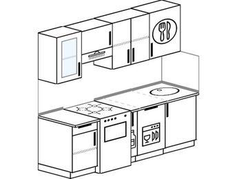 Планировка прямой кухни 5,0 м², 200 см: верхние модули 72 см, отдельно стоящая плита, корзина-бутылочница, посудомоечная машина