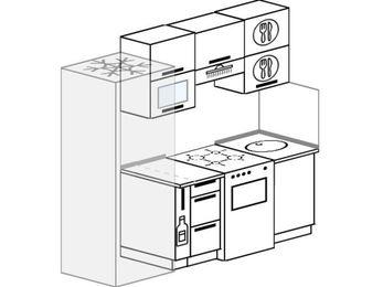 Планировка прямой кухни 5,0 м², 200 см: верхние модули 72 см, холодильник, корзина-бутылочница, отдельно стоящая плита