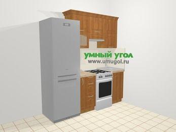 Прямая кухня МДФ матовый в классическом стиле 5,0 м², 200 см, Вишня: верхние модули 72 см, холодильник, корзина-бутылочница, отдельно стоящая плита