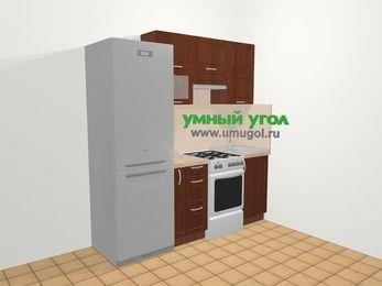 Прямая кухня МДФ матовый в классическом стиле 5,0 м², 200 см, Вишня темная: верхние модули 72 см, холодильник, корзина-бутылочница, отдельно стоящая плита