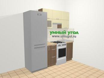 Прямая кухня МДФ матовый в современном стиле 5,0 м², 200 см, Ваниль / Лиственница бронзовая: верхние модули 72 см, холодильник, корзина-бутылочница, отдельно стоящая плита