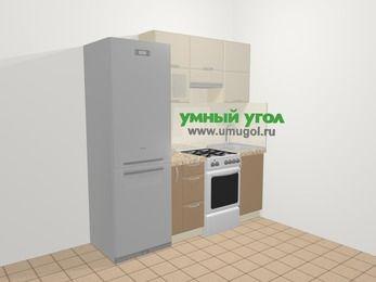 Прямая кухня МДФ матовый в современном стиле 5,0 м², 200 см, Керамик / Кофе: верхние модули 72 см, холодильник, корзина-бутылочница, отдельно стоящая плита