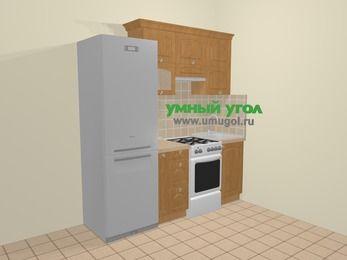 Прямая кухня МДФ матовый в стиле кантри 5,0 м², 200 см, Ольха: верхние модули 72 см, холодильник, корзина-бутылочница, отдельно стоящая плита