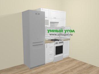 Прямая кухня МДФ матовый  в скандинавском стиле 5,0 м², 200 см, Белый: верхние модули 72 см, холодильник, корзина-бутылочница, отдельно стоящая плита