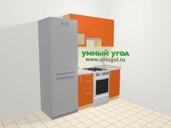 Прямая кухня МДФ металлик в современном стиле 5,0 м², 200 см, Оранжевый металлик: верхние модули 72 см, холодильник, корзина-бутылочница, отдельно стоящая плита