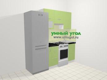 Прямая кухня МДФ металлик в современном стиле 5,0 м², 200 см, Салатовый металлик: верхние модули 72 см, холодильник, корзина-бутылочница, отдельно стоящая плита