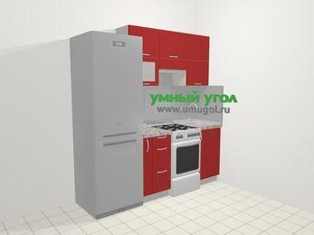 Прямая кухня МДФ глянец в современном стиле 5,0 м², 200 см, Красный: верхние модули 72 см, холодильник, корзина-бутылочница, отдельно стоящая плита