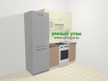 Прямая кухня МДФ глянец в современном стиле 5,0 м², 200 см, Жасмин / Капучино: верхние модули 72 см, холодильник, корзина-бутылочница, отдельно стоящая плита