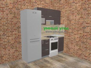 Прямая кухня МДФ глянец в стиле лофт 5,0 м², 200 см, Шоколад: верхние модули 72 см, холодильник, корзина-бутылочница, отдельно стоящая плита