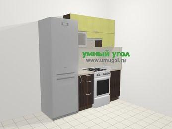 Кухни из пластика в современном стиле 5,0 м², 200 см, Желтый Галлион глянец / Дерево Мокка: верхние модули 72 см, холодильник, корзина-бутылочница, отдельно стоящая плита