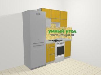 Кухни из пластика в современном стиле 5,0 м², 200 см, Желтый глянец: верхние модули 72 см, холодильник, корзина-бутылочница, отдельно стоящая плита