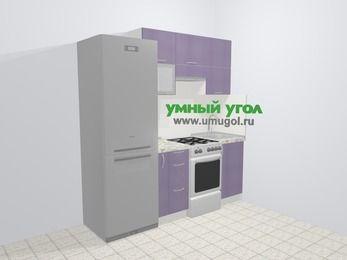 Кухни из пластика в современном стиле 5,0 м², 200 см, Сиреневый глянец: верхние модули 72 см, холодильник, корзина-бутылочница, отдельно стоящая плита