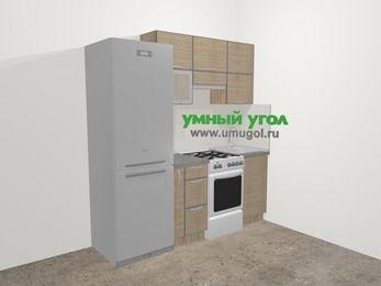 Кухни из пластика в стиле лофт 5,0 м², 200 см, Чибли бежевый: верхние модули 72 см, холодильник, корзина-бутылочница, отдельно стоящая плита