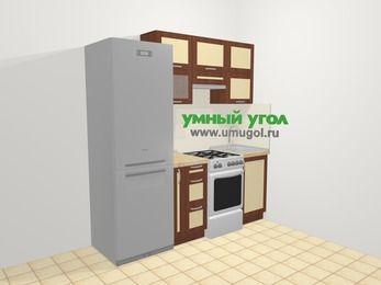 Прямая кухня из рамочного МДФ 5,0 м², 200 см, Вишня темная / Крем: верхние модули 72 см, холодильник, корзина-бутылочница, отдельно стоящая плита